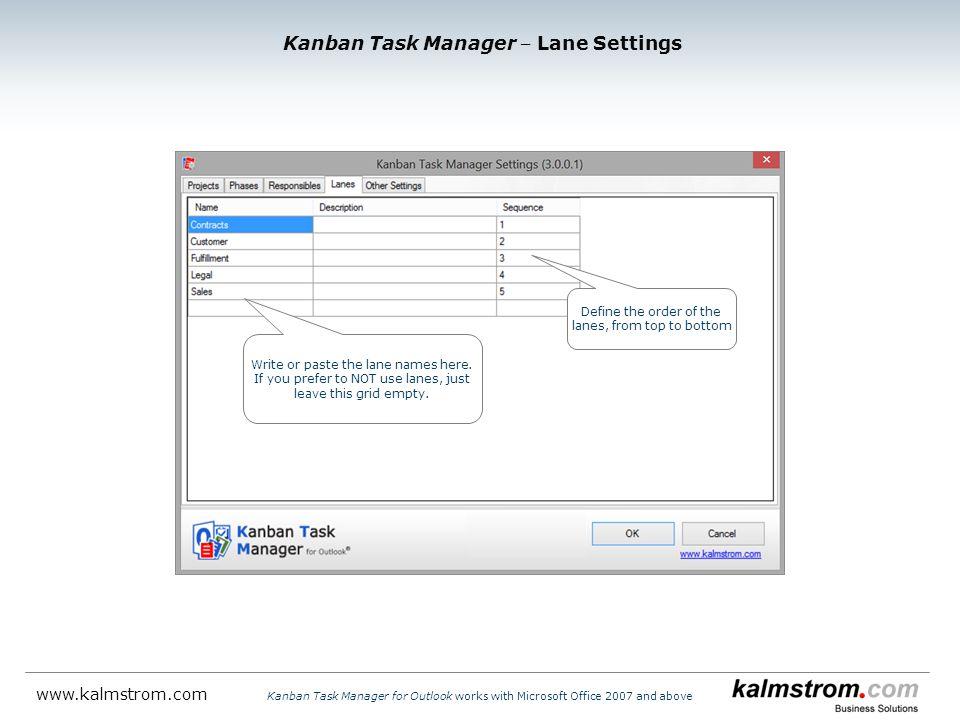 Kanban Task Manager ‒ Lane Settings