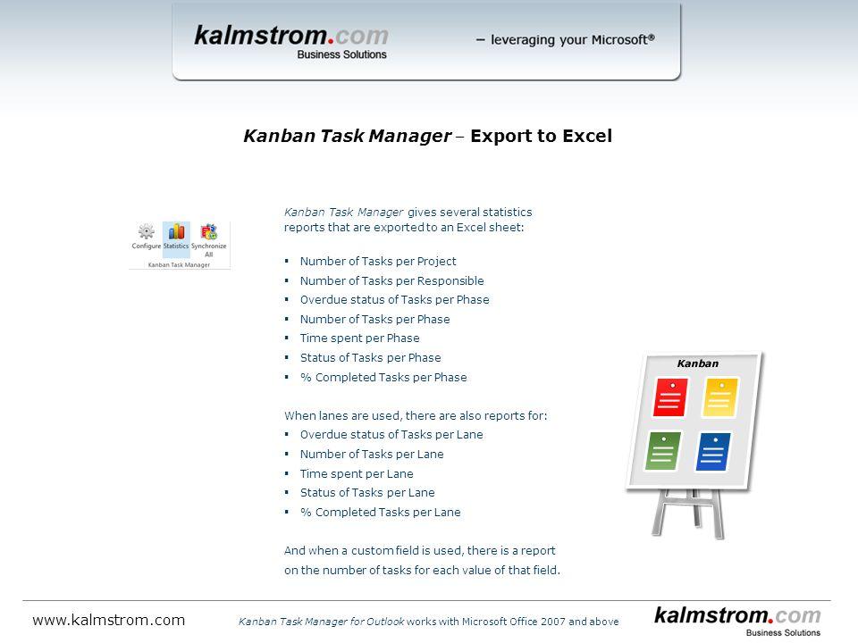 Kanban Task Manager ‒ Export to Excel