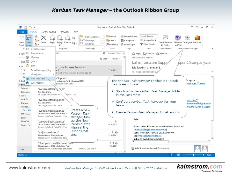 Kanban Task Manager ‒ the Outlook Ribbon Group
