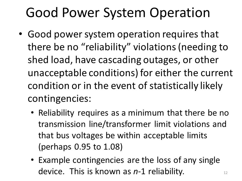 Good Power System Operation