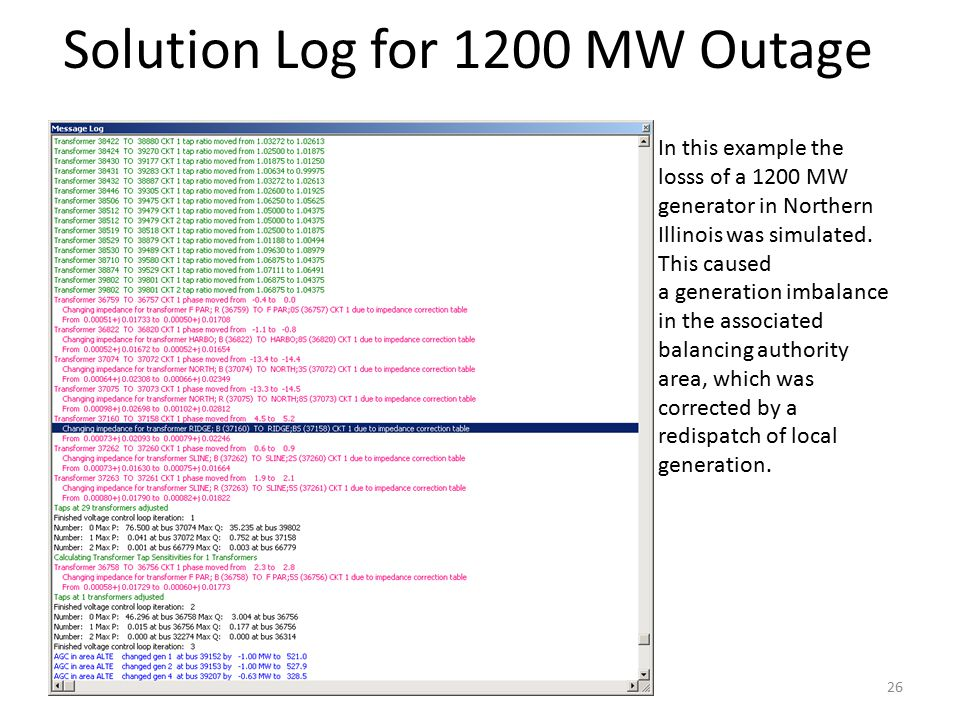 Solution Log for 1200 MW Outage
