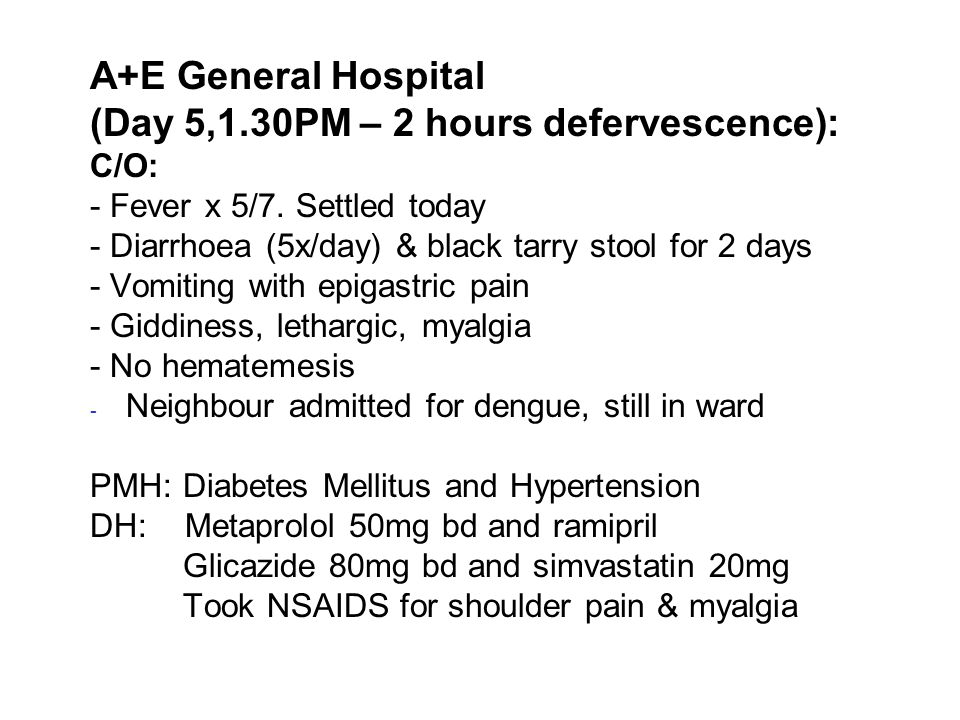 (Day 5,1.30PM – 2 hours defervescence):