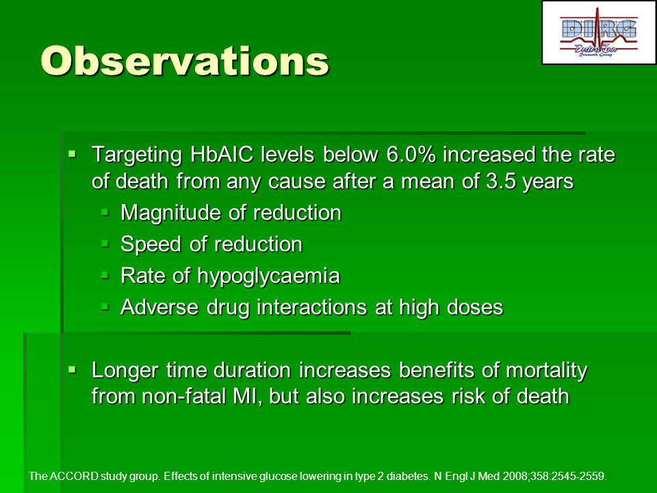 Observations Targeting HbAIC levels below 6.0% increased the rate of death from any cause after a mean of 3.5 years.