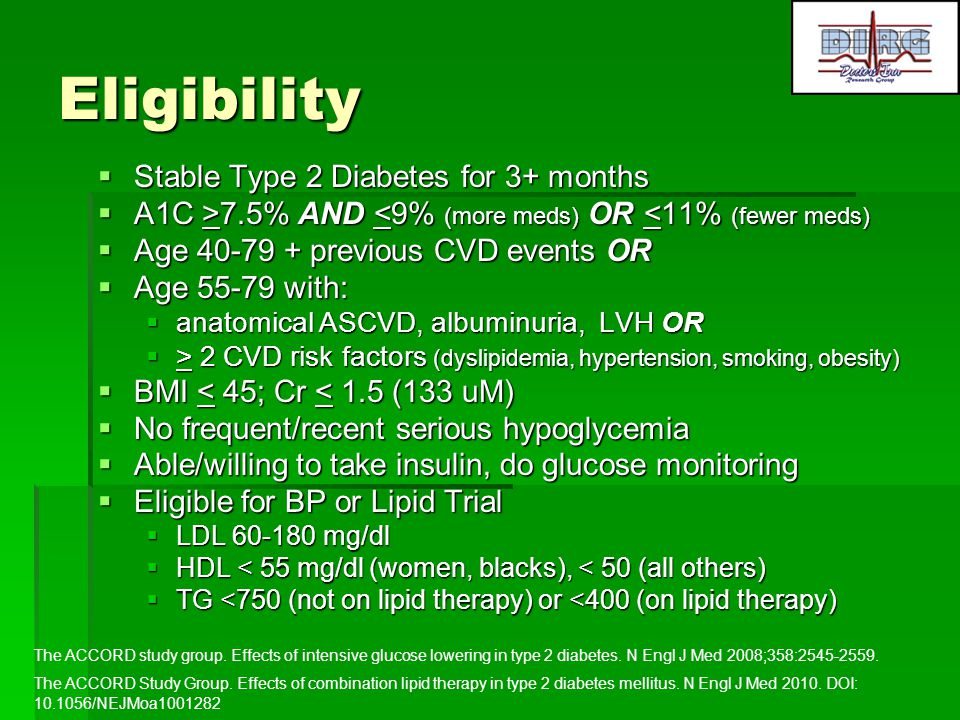 Eligibility Stable Type 2 Diabetes for 3+ months