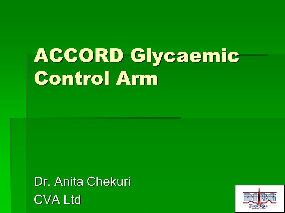 ACCORD Glycaemic Control Arm
