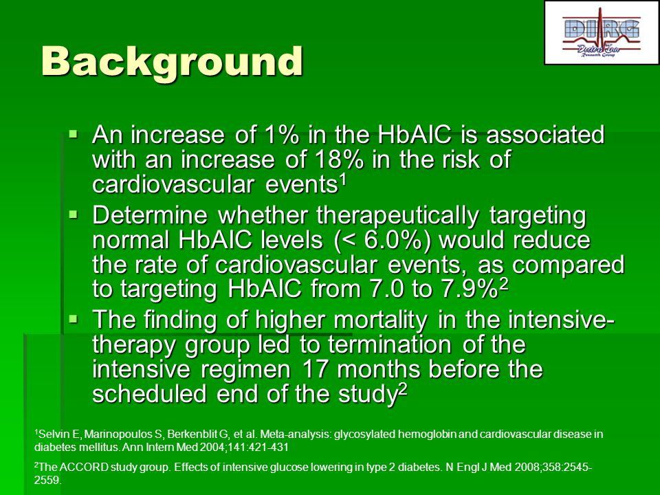Background An increase of 1% in the HbAIC is associated with an increase of 18% in the risk of cardiovascular events1.