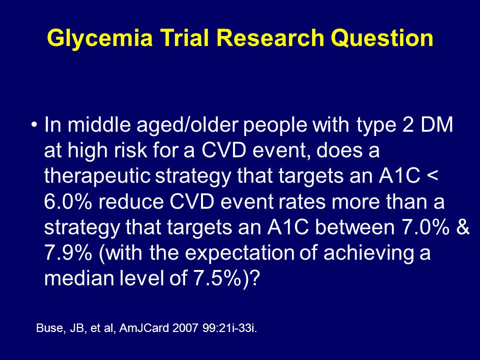 Glycemia Trial Research Question
