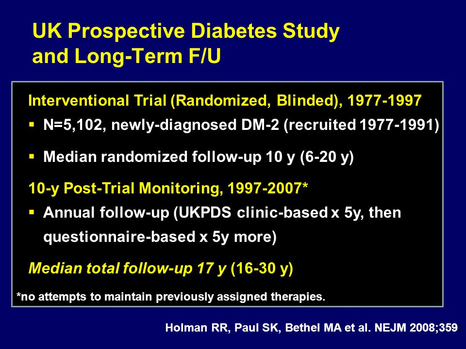 UK Prospective Diabetes Study and Long-Term F/U