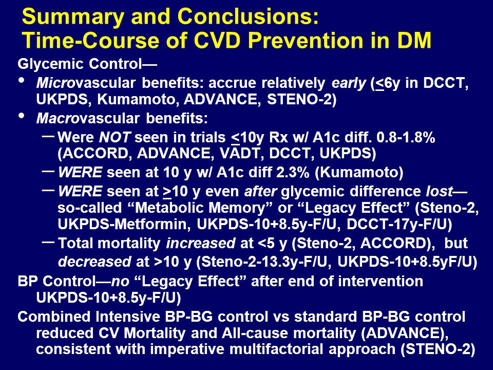 Summary and Conclusions: Time-Course of CVD Prevention in DM