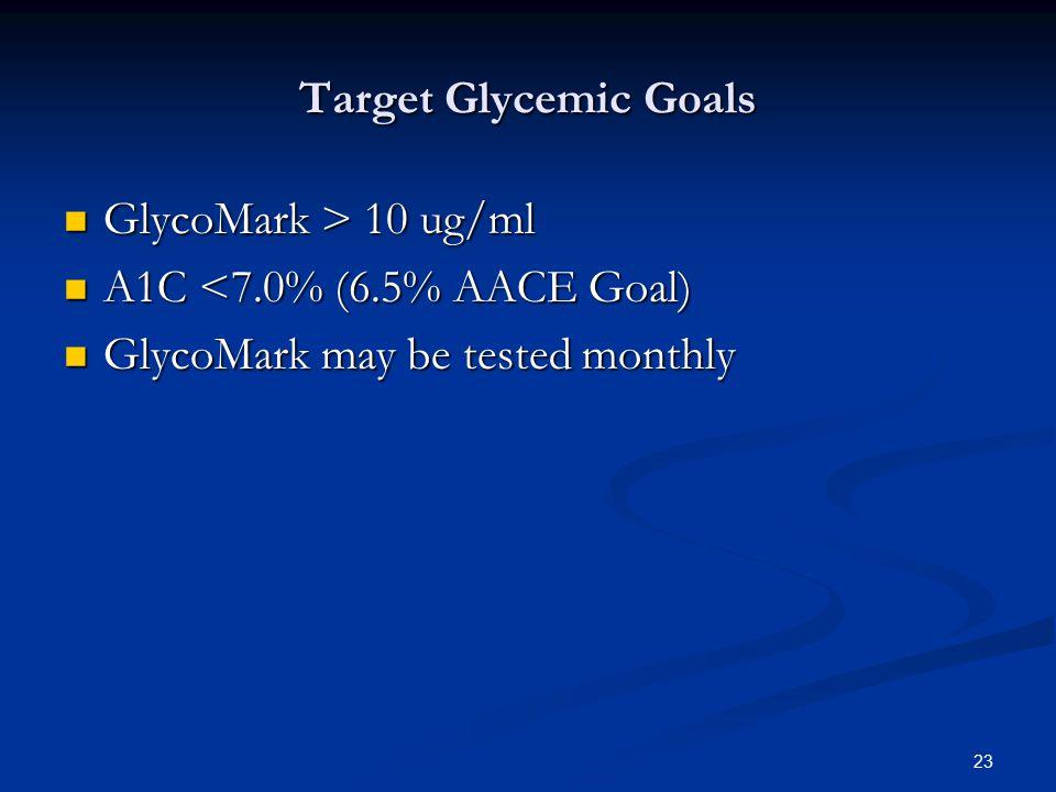Target Glycemic Goals GlycoMark > 10 ug/ml.