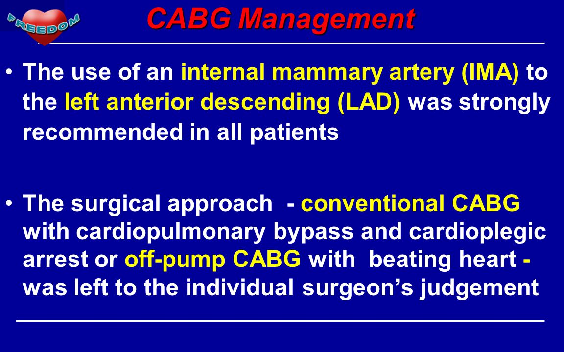 CABG Management The use of an internal mammary artery (IMA) to the left anterior descending (LAD) was strongly recommended in all patients.
