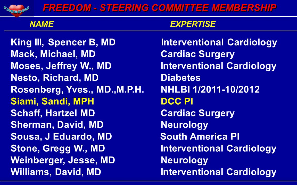 FREEDOM - STEERING COMMITTEE MEMBERSHIP