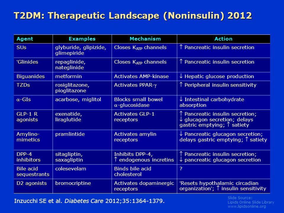 T2DM: Therapeutic Landscape (Noninsulin) 2012
