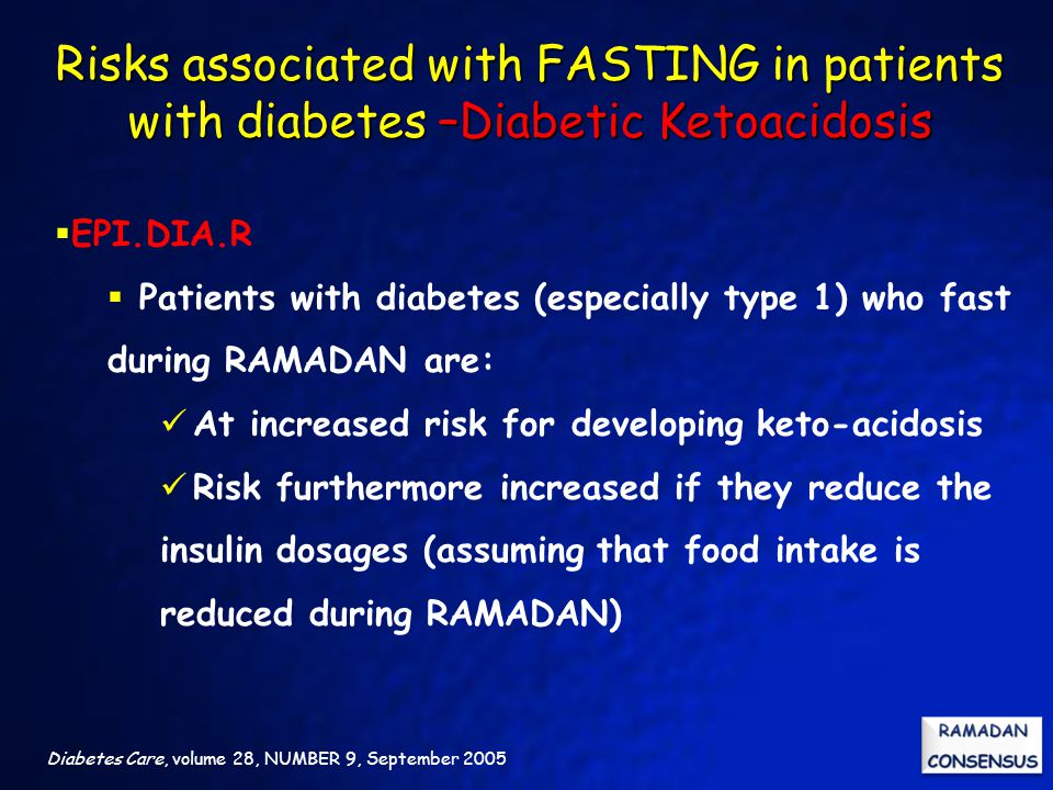Risks associated with FASTING in patients with diabetes –Diabetic Ketoacidosis