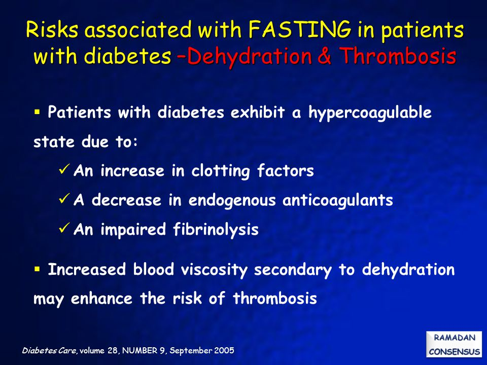 Risks associated with FASTING in patients with diabetes –Dehydration & Thrombosis