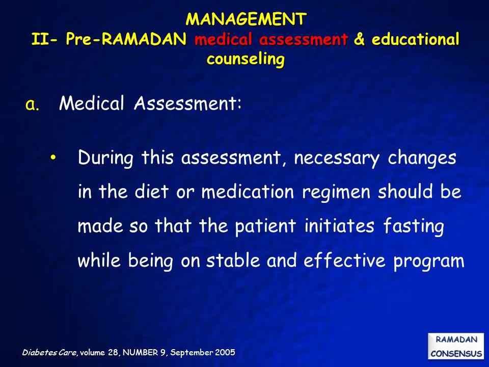 MANAGEMENT II- Pre-RAMADAN medical assessment & educational counseling
