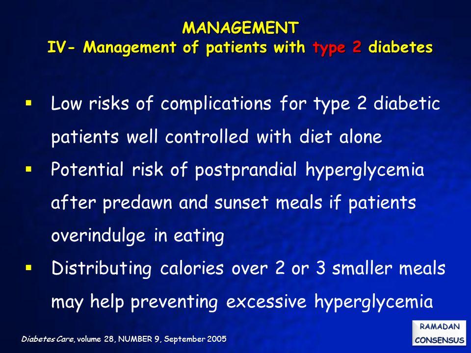 MANAGEMENT IV- Management of patients with type 2 diabetes