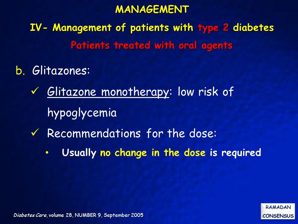 Glitazone monotherapy: low risk of hypoglycemia