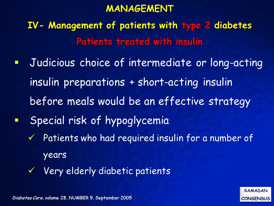 Special risk of hypoglycemia