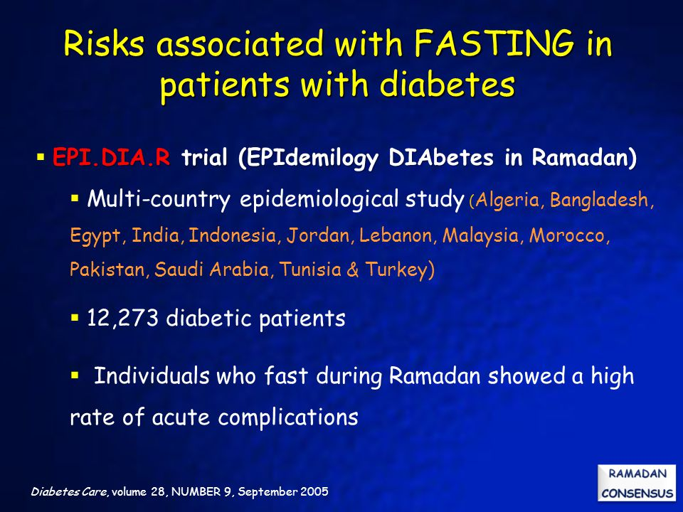 Risks associated with FASTING in patients with diabetes