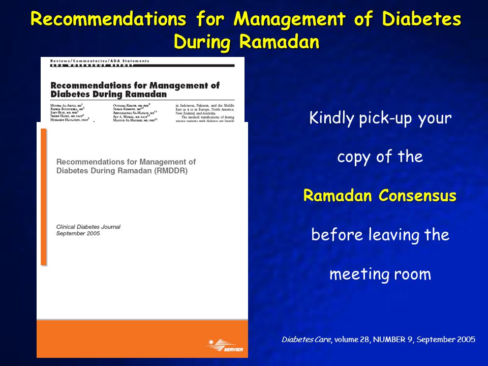 Recommendations for Management of Diabetes During Ramadan