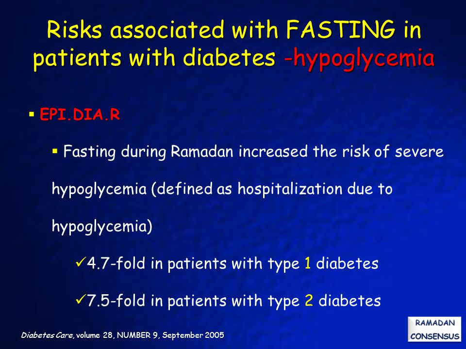 Risks associated with FASTING in patients with diabetes -hypoglycemia