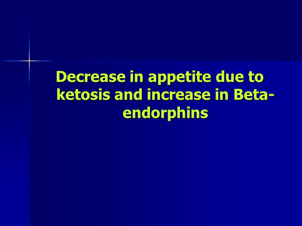 Decrease in appetite due to ketosis and increase in Beta-endorphins
