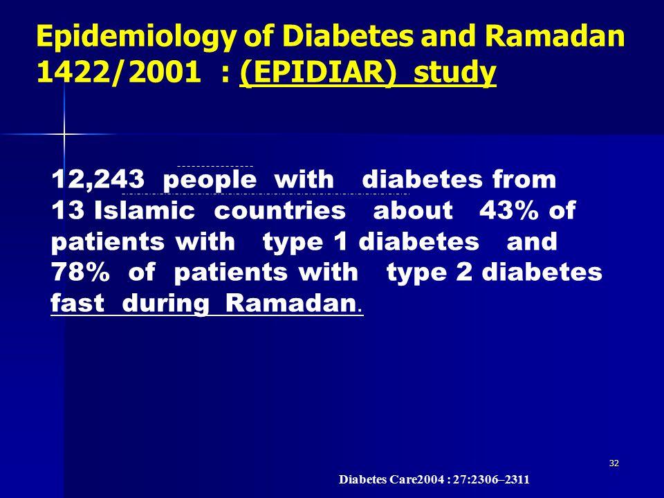 Epidemiology of Diabetes and Ramadan 1422/2001 : (EPIDIAR) study