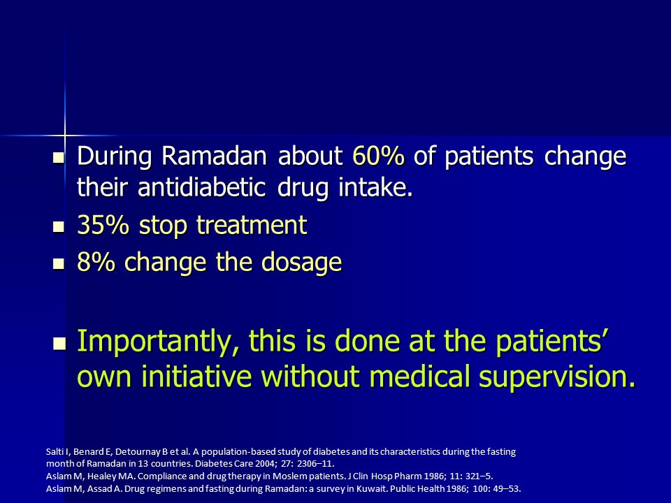 During Ramadan about 60% of patients change their antidiabetic drug intake.