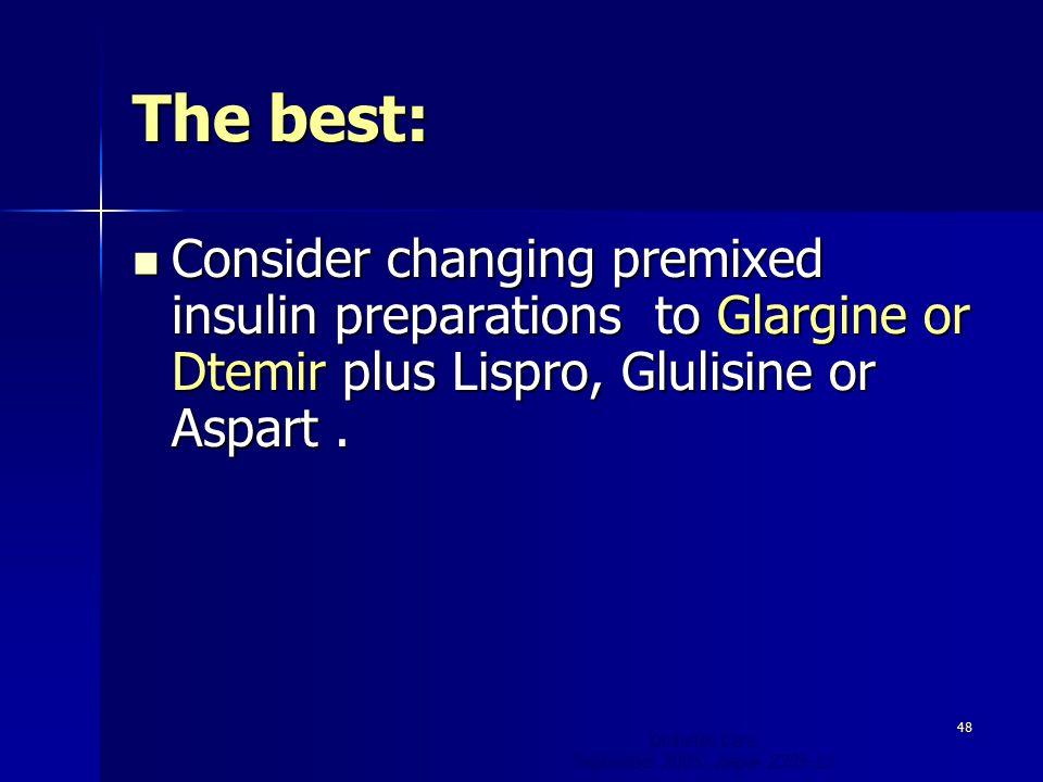 The best: Consider changing premixed insulin preparations to Glargine or Dtemir plus Lispro, Glulisine or Aspart .