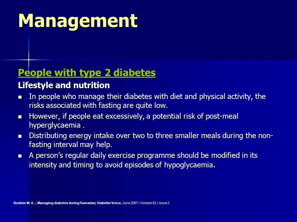 Management People with type 2 diabetes Lifestyle and nutrition