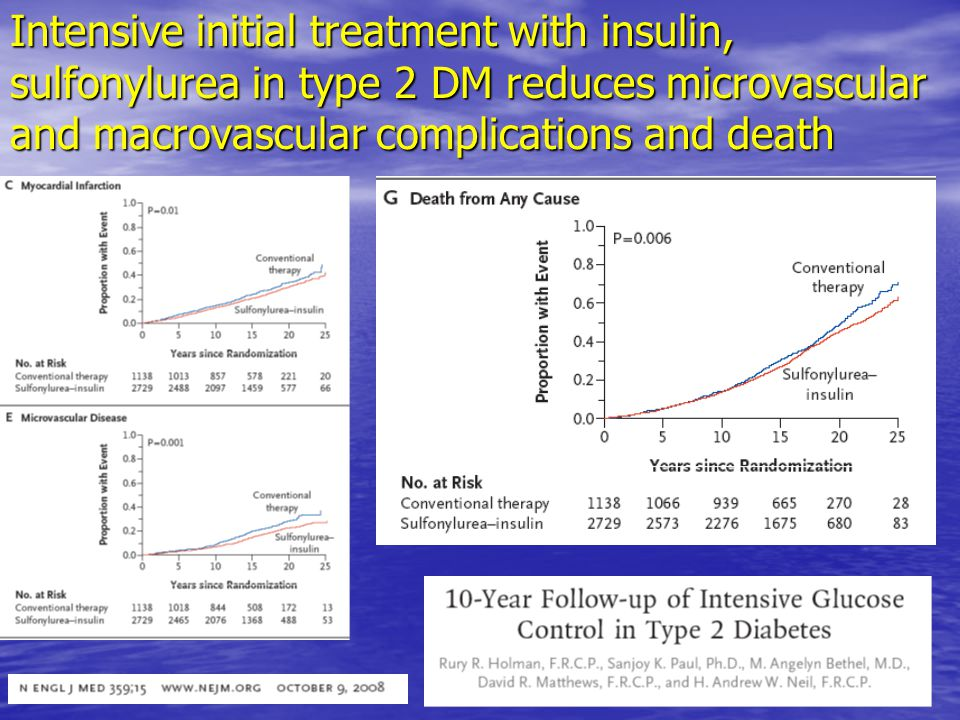Intensive initial treatment with insulin, sulfonylurea in type 2 DM reduces microvascular and macrovascular complications and death