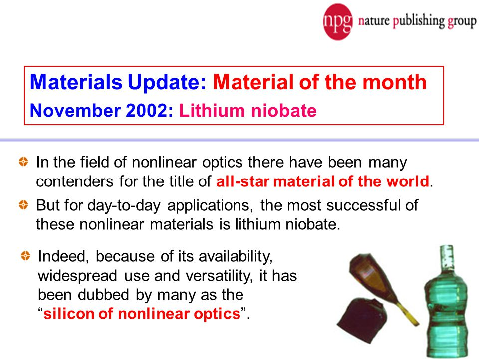 Materials Update: Material of the month