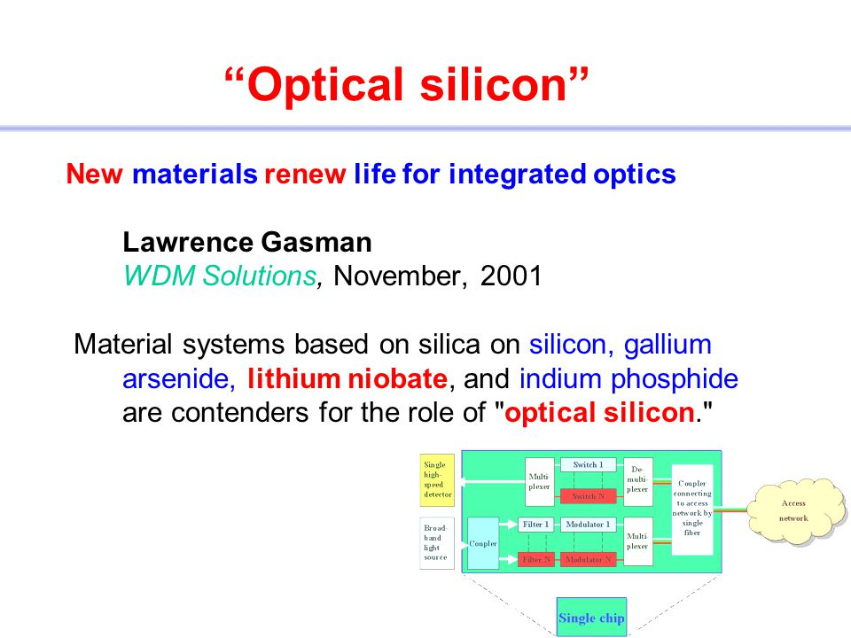 Optical silicon New materials renew life for integrated optics Lawrence Gasman WDM Solutions, November, 2001.