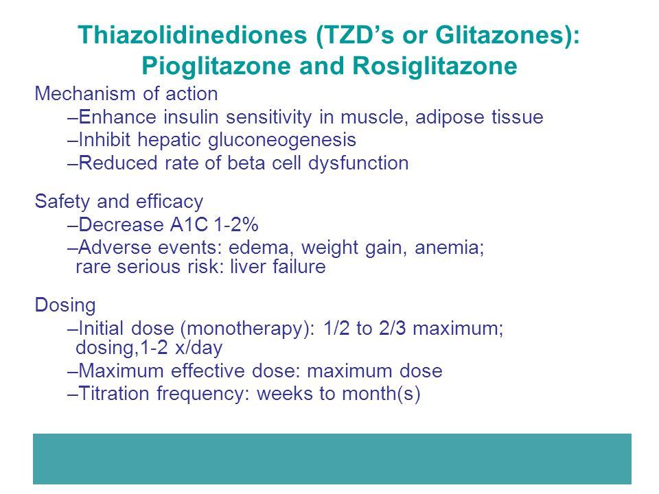 Thiazolidinediones (TZD's or Glitazones): Pioglitazone and Rosiglitazone