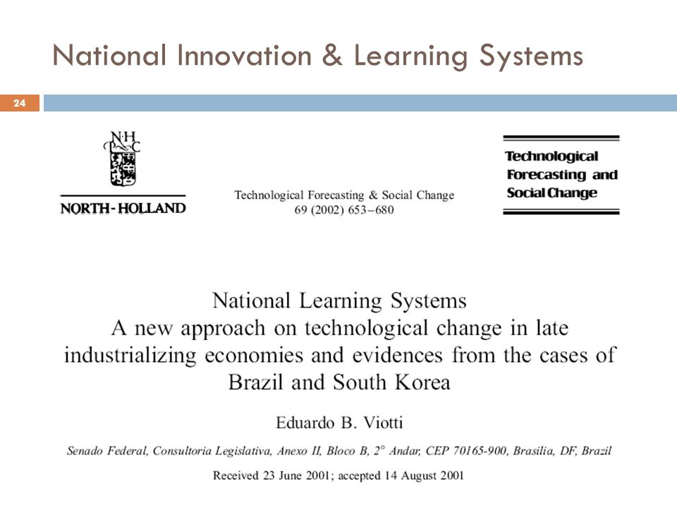 National Innovation & Learning Systems