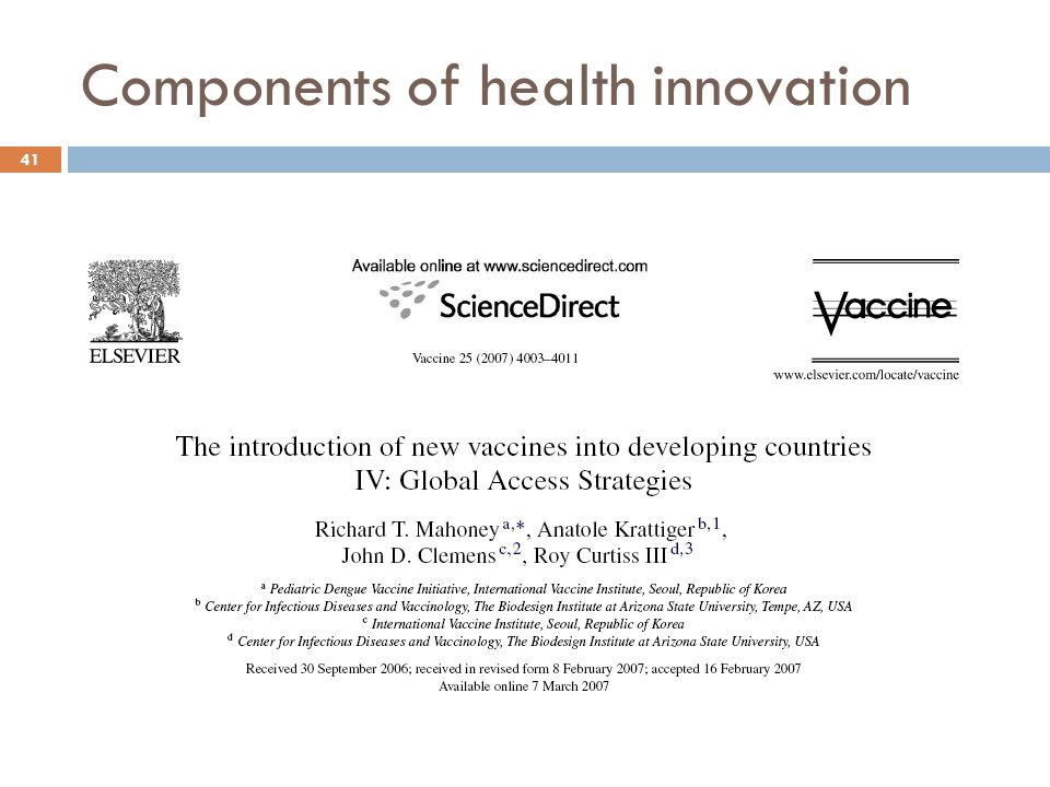 Components of health innovation