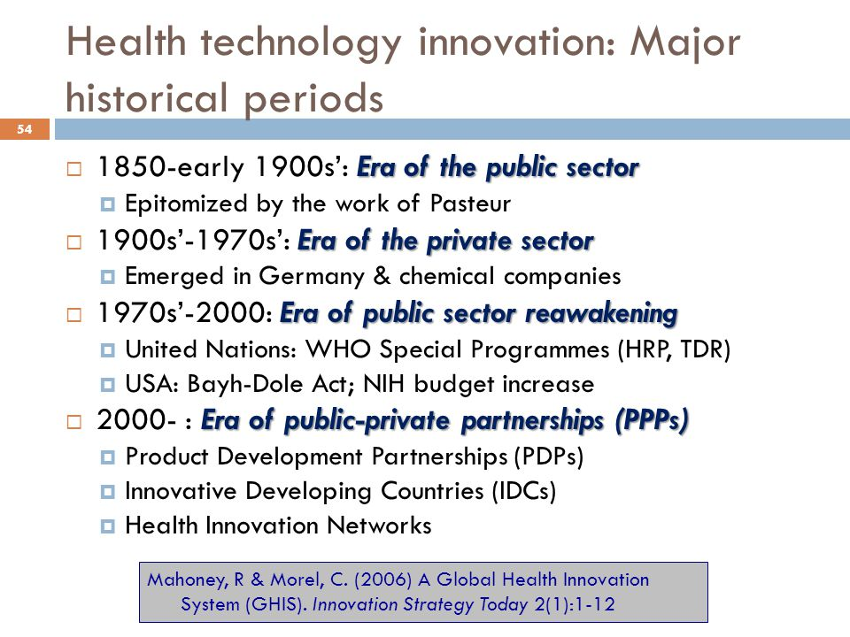 Health technology innovation: Major historical periods
