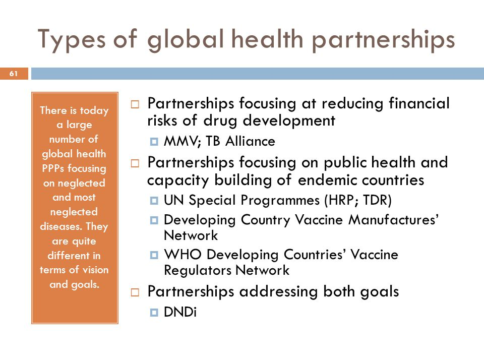 Types of global health partnerships