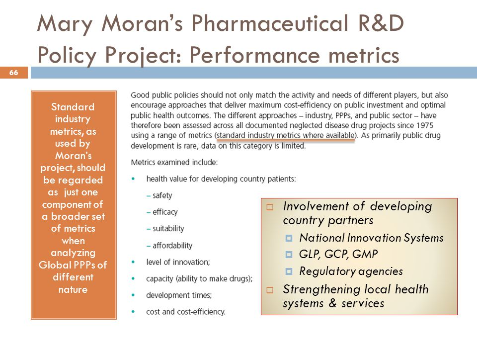 Mary Moran's Pharmaceutical R&D Policy Project: Performance metrics