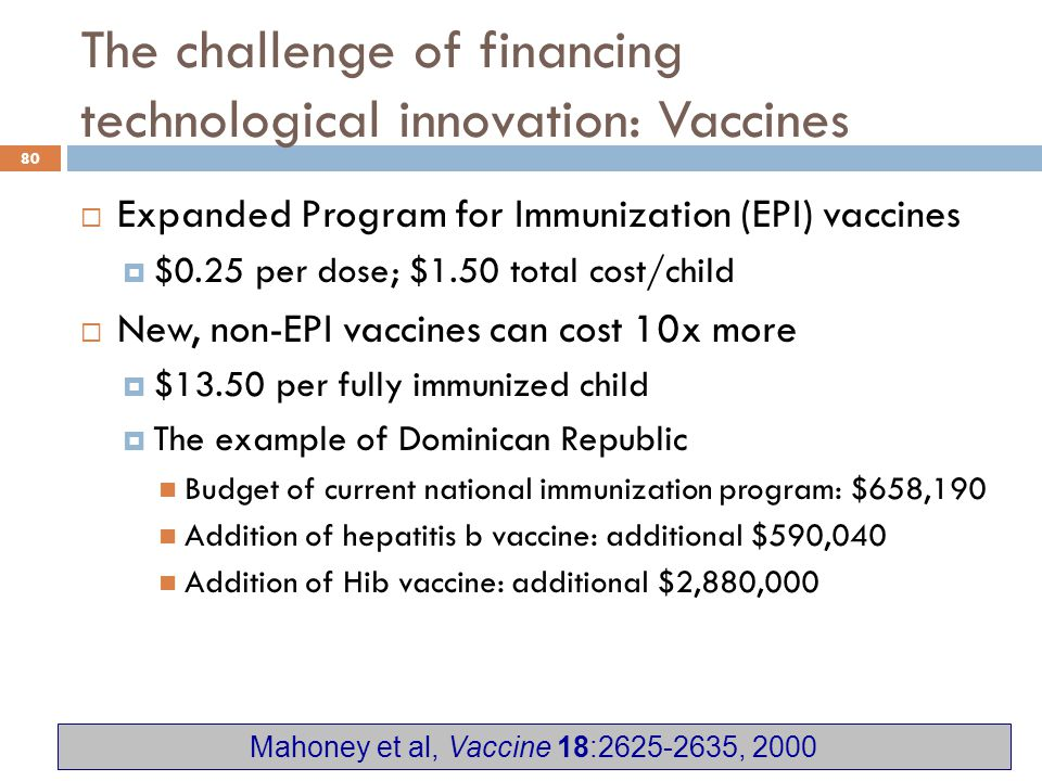 The challenge of financing technological innovation: Vaccines