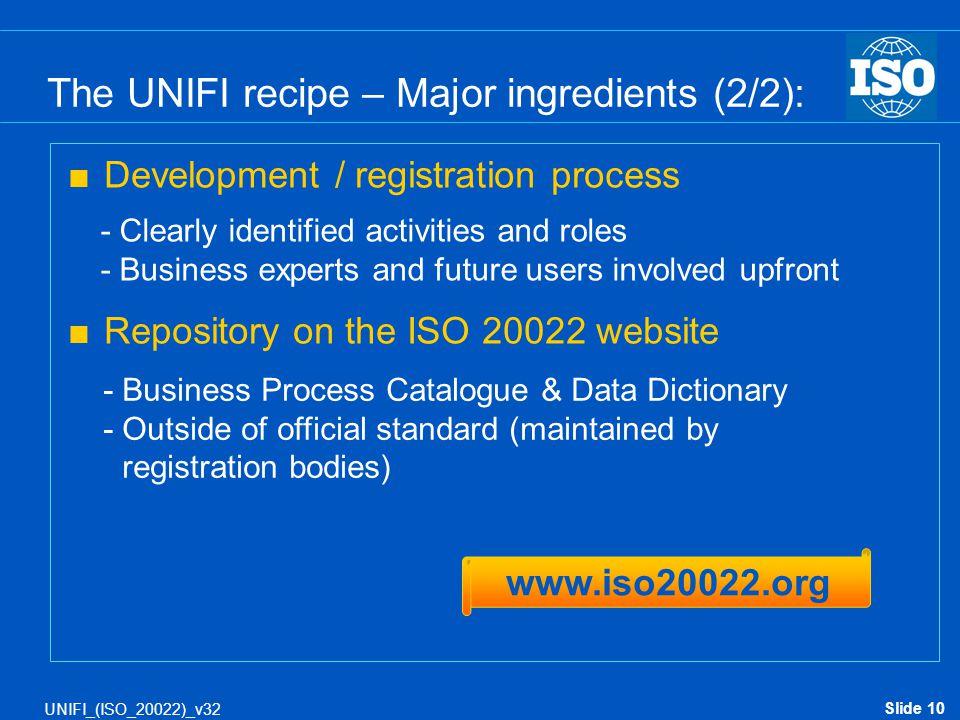 The UNIFI recipe – Major ingredients (2/2):