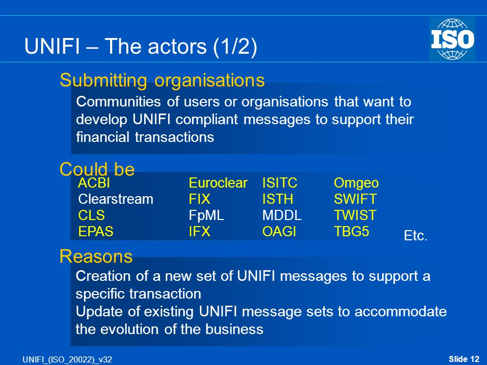UNIFI – The actors (1/2) Submitting organisations Could be Reasons