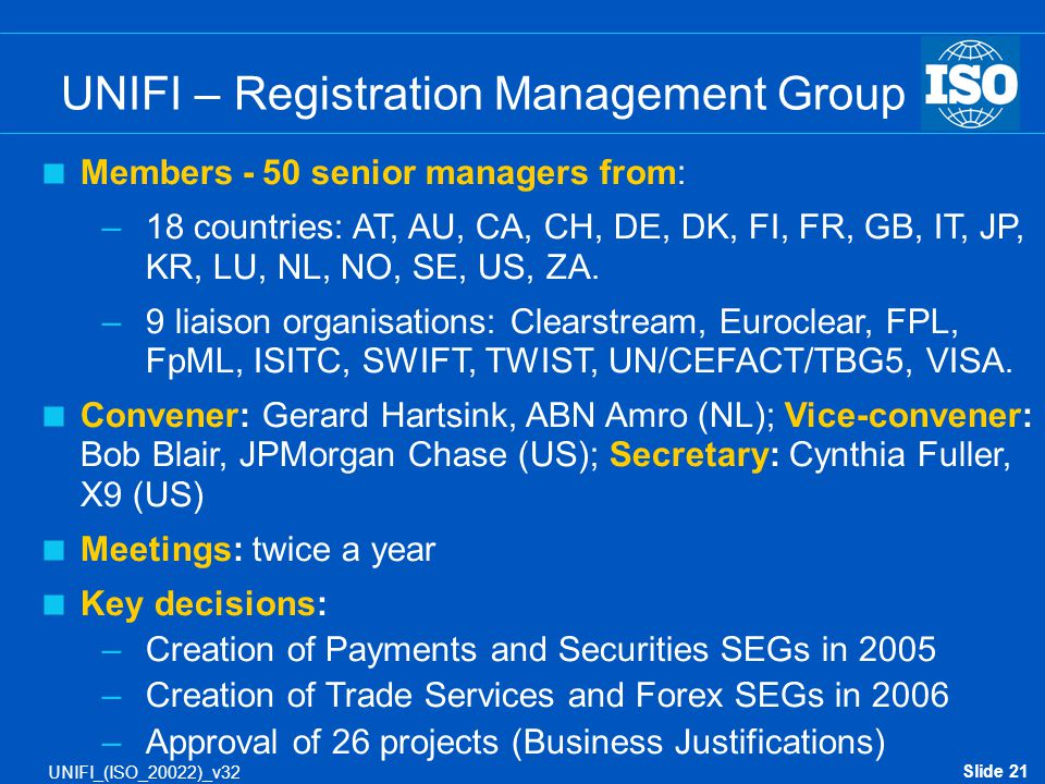 UNIFI – Registration Management Group