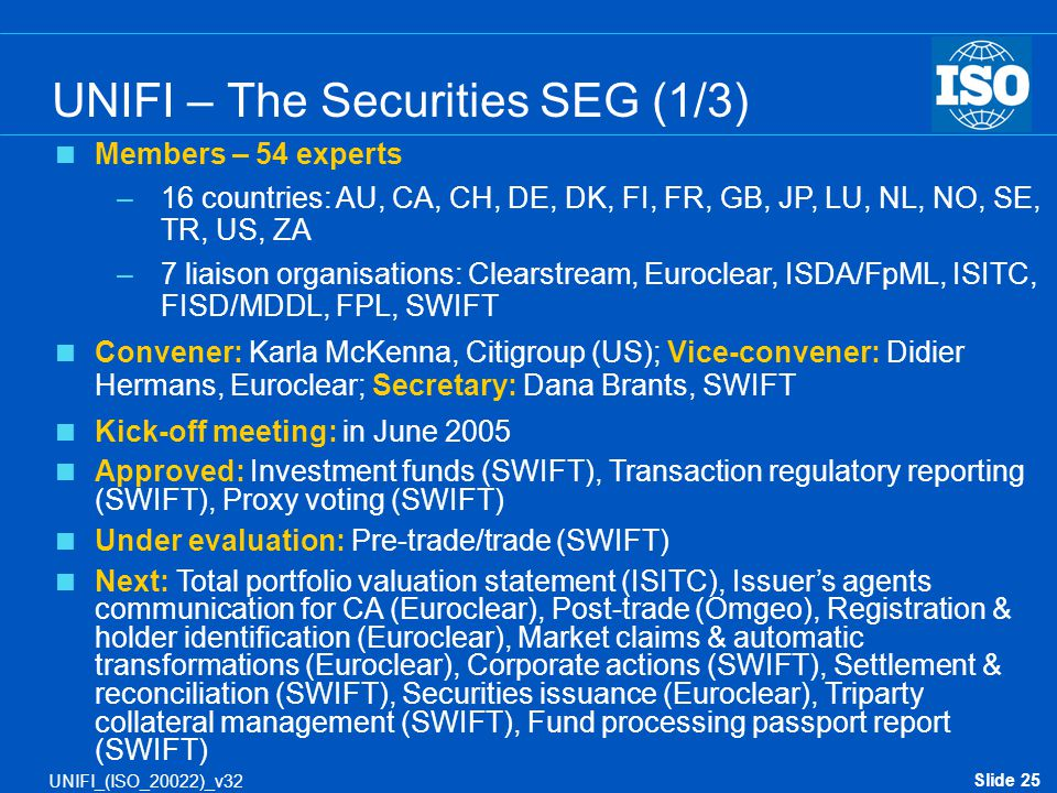 UNIFI – The Securities SEG (1/3)