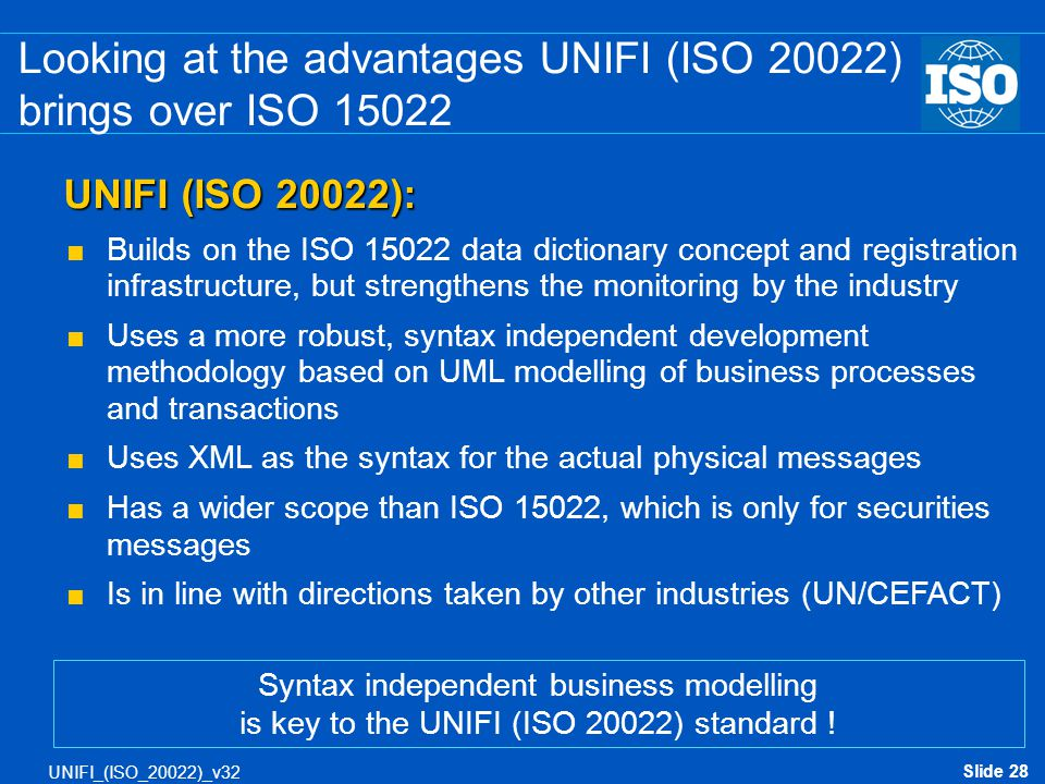 Looking at the advantages UNIFI (ISO 20022) brings over ISO 15022