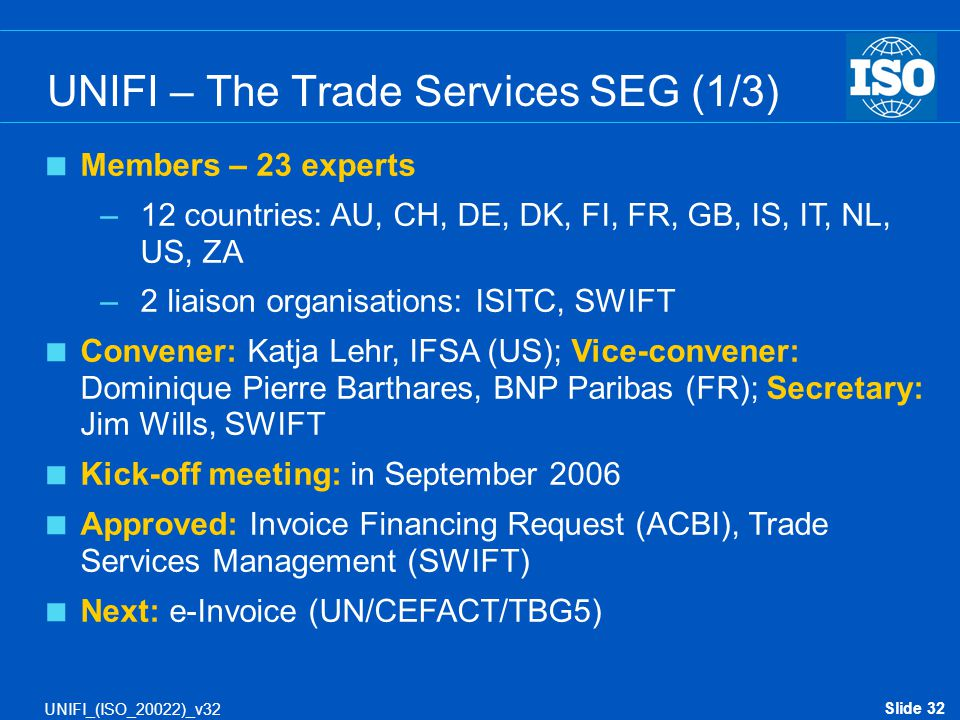 UNIFI – The Trade Services SEG (1/3)