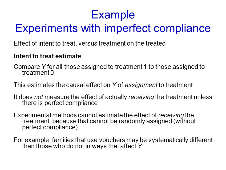 Example Experiments with imperfect compliance