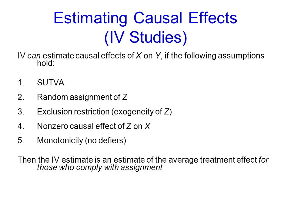 Estimating Causal Effects (IV Studies)