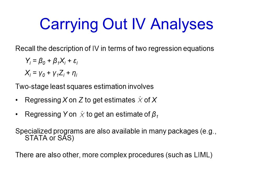 Carrying Out IV Analyses